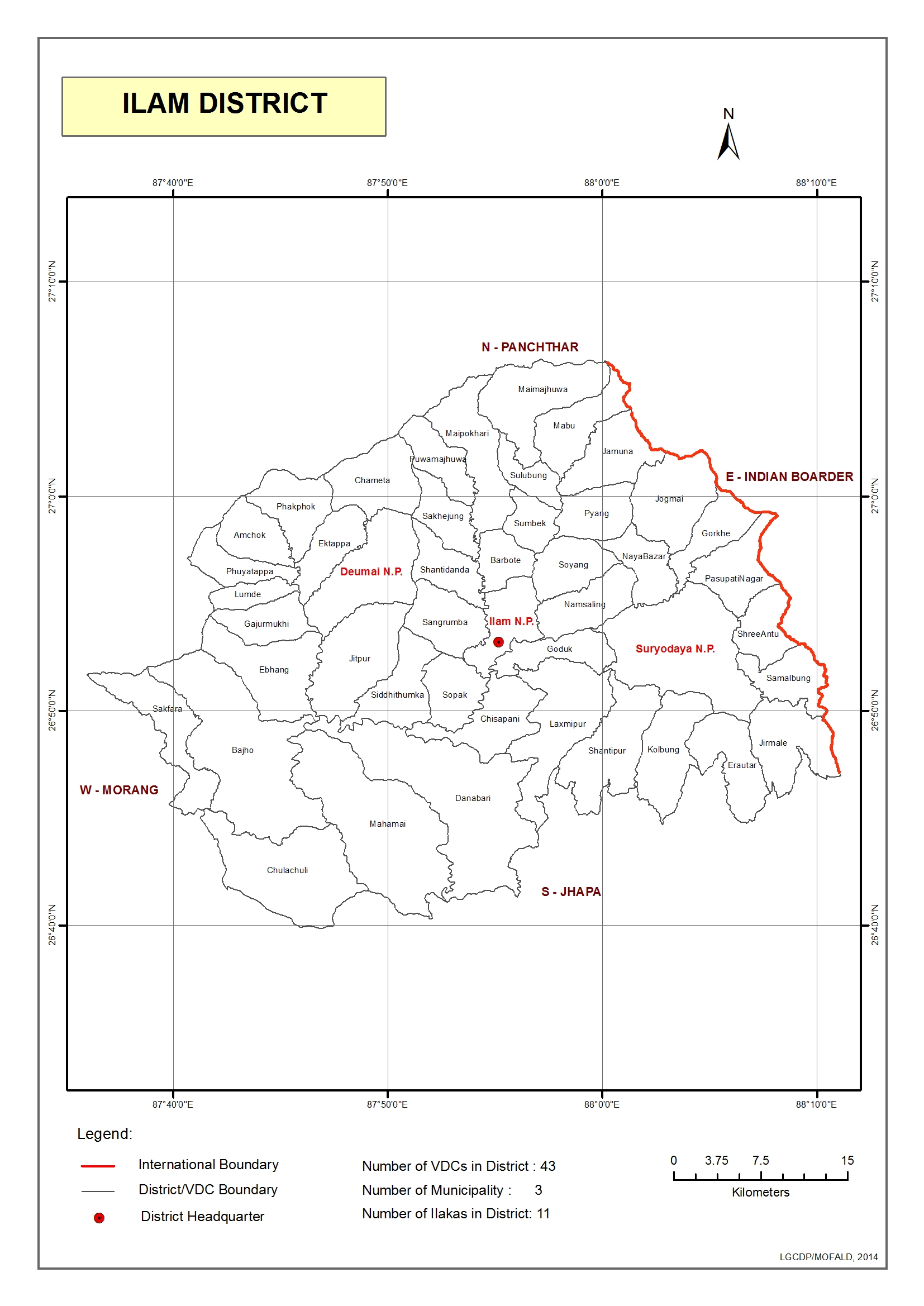 GIS District Map Local Governance And Community Development - Ilam map