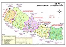 Map of Nepal displaying updated no. of VDCs and Municipalities.